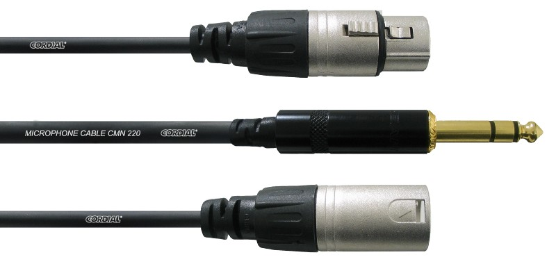 Cordial CFY 3 VFM кабель Y-адаптер джек стерео 6,3 мм/XLR male+XLR female, 3,0 м, черный