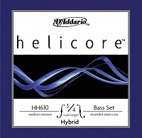 D'ADDARIO HH610 3/4M струны для контрабаса Helicore Hybrid Bass, Medium Tension, 3/4