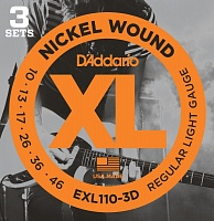 D'ADDARIO EXL110-3D Regular Light 10-46 Струны для электрогитары, 3 комплекта