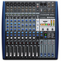PreSonus StudioLive AR12c аналоговый микшер USB, 14 каналов, 4 микр. + 4 микр. моно/лин. стерео + 1 стерео лин./Bluetooth, 14x4 USB-C, 3 AUX, FX, SD рек./плеер