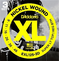 D'ADDARIO EXL125-3D Струны для электрогитары, Super Light Top/Regular Bottom,9-46, 3 комплекта в упаковке