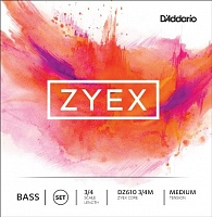 D'ADDARIO DZ610 3/4M, ZYEX, medium Струны для контрабаса 3/4